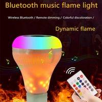 lâmpadas de música bluetooth venda por atacado-E27 bluetooth speaker chama lâmpada inteligente sem fio music player decorativo chama lâmpada led rgb dimmable áudio oscilante chama luz