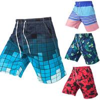 traje de baño de los hombres a cuadros al por mayor-Vertvie Pantalones cortos de playa para hombres Troncos de natación Pantalones cortos Pantalón de baño masculino suelto Board Plaid Beach Boxer Trunks Surf Swim