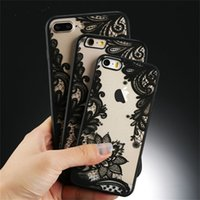 Wholesale pink lace iphone case - Luxury Lace Phone Case For Iphone X Lace Flower Hard PC+TPU Back Cover For Iphone 6 7 8 Plus