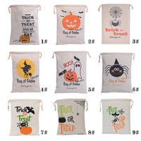 Wholesale gift bags dhl shipping online - 9 style Halloween Bags Handle Pumpkin Shopping Bags Festival Gifts Bag Halloween Canvas Bag DHL