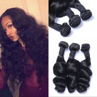 gevşek atkı saç uzantısı toptan satış-Saç Paketler Gevşek Dalga Hint Virgin İnsan 3 adet Saç Uzantıları Doğal Renk 8-30 inç Hiçbir Atkı LaurieJ Saç