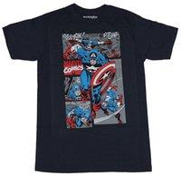 tops de algodon de imagenes al por mayor-Capitán América Camiseta para hombre - Corriendo en varios paneles de batalla Imagen Para hombre 2018 Marca de moda Camiseta O-cuello 100% algodón Tops