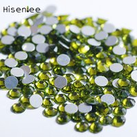 Wholesale 3d art sweet for sale - Sweet Shiny Beautiful Fantasy Olive Green Color Rhinestone Flat Round Shape Glass High Quality D Shiny Nail Art Decoration Tool