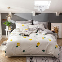 Wholesale chinese style king size bedding resale online - 100 cotton Twin full Queen King size Bedding Set pineapple print Pastoral bed set cotton fitted sheet Duvet quilt cover set