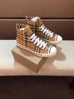 krem kumaşlar toptan satış-2018 Statik Yarı Dondurulmuş Krem Yüksek Üst Ayakkabı Ekose Kumaş Tuval Kravat Düz Rahat Erkekler Ayakkabı