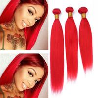 светло-красные волосы оптовых-3 пучка Красный человеческие волосы ткать 9a дешевые светло-красный цвет перуанский девственные волосы уток расширения 3 шт. Много смешанная длина