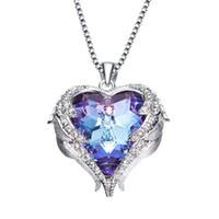 halskette swarovski lila großhandel-ozean herz halskette für frauen mit swarovski kristallen platinierte halskette für frauen hochzeitsgeschenk (blau lila abcolo) wholse