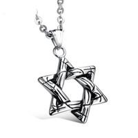 звезды одиночные оптовых-David Star шестиугольник ожерелье ретро мода звезды геометрические ювелирные изделия мужская одной цепи ожерелье поддержка FBA Drop Shipping G881F