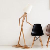 ingrosso deco giapponese-Stile giapponese creativo fai da te lampade da terra in legno tessuto legno nordico luce del basamento per soggiorno camera da letto studio art deco illuminazione