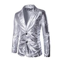 hombre blazers color al por mayor-Nuevo Blazer de traje de hombre de plata negro Blazer masculino de lentejuelas doradas Chaqueta de vestir de doble botón para hombre Chaqueta de pana de ocio Hombres Blazer de talla grande M-3XL
