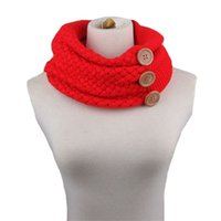 Wholesale thick headbands for sale - Winter Warm Buttons Scarf Fashion Women Scarves Wool Knitted Thick Knitwear Wraps Two Traps Head Shawl Hot Sale js gg