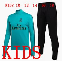 Wholesale Sport Wear Kids Boy - Kids Real Madrid Tracksuit Long Sleeve Jogging Boys Soccer kit Football Suit Youth Sport Wear Children 17 18 Ronaldo training SUIT