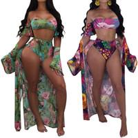 mais tamanho encobrir roupa de banho venda por atacado-Mulheres 2018 one piece maiô sexy beach wear bikinis set swimwear plus size sling maiô + manga longa praia cover sarong