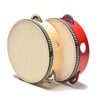 hölzerne hand-rasseltrommel großhandel-Neue Mode Musical Beat Instrument Handtrommel Kinder Kinder Musical Holztrommel Rasseln Pädagogisches Spielzeug Lernspielzeug