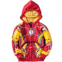ingrosso camicie uomo in ferro-Avengers Giacche Cappotti Ragazzi Iron Man Thor Hulk Spider Man Neonati Vestiti Costume Bambini Giacche Felpa con cappuccio Bambino Top Tees Magliette