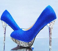 Wholesale blue color wedding shoe round head thin with shallow mouth sandals with high heel diamond women s shoes231