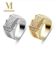 anel de homem dedo completo venda por atacado-Estilo Punk Hip Hop Moda Anel de Ouro / Cor Prata Full Rhinestone Cristal Masculinos Homem Anéis de Dedo para Homens Mulheres Jóias Size8-1