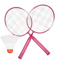 бадминтон оптовых-Children Kids Badminton Racket Racquet Shulecock Set Alloy Badminton Racket Practice Training Light-weight Racquet with Balls