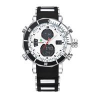 часы двойные цифровые часы оптовых-Топ бренд Мужские спортивные часы силиконовые кварцевые мужские открытый военные цифровые часы будильник двойные часовые пояса водонепроницаемый