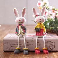ingrosso la camera da letto stabilisce il trasporto libero-L'amante Toy Rabbit calcola le figurine che adorna la bambola adorabile degli ornamenti delle coppie per la decorazione domestica 2 pc / insieme Trasporto libero
