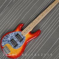 gesteppte ahorndecke großhandel-Fabrik benutzerdefinierte linkshänder 5 saiten bass e-gitarre gesteppte top mit ahorn griffbrett musikinstrument shop