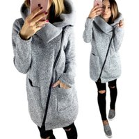 Wholesale down jackets for ladies - Women Side Zipper Winter Autumn Coat Long Sleeve Fleece Hoodie Sweater Outdoor Casual Pullover Top Clothes High Collar Jacket for Ladies