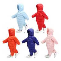 ingrosso caldo bodysuit-2018 Winter Jumpsuit Baby Newborn Snowsuit Snow Wear Coats Boy Warm Pagliaccetto 100% piumino Cotton Girl vestiti Body 0-36 M