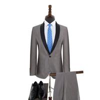 платье для мужчин оптовых-Customized new men's suit two-piece suit (jacket + pants) men's single button shawl collar formal wedding groom dress