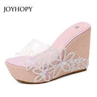 Wholesale Transparent High Heel Wedges - JOYHOPY Summer Transparent Platform Wedges Sandals Women Slippers PVC Crystal Jelly Shoes Beach Woman High Heels Slides WS1639