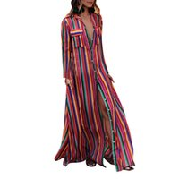Autumn 2018 Boho Ladies Maxi Long Beach Dress Summer Women Long Sleeve  Multicolor Striped Printed Dresses Party Sundress  Zer 1f422243967d
