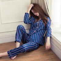 damen sexy satin dessous großhandel-Frauen Sexy Silk Satin Dessous Set Nachthemd Gestreifte Nachtwäsche Für Damen Pyjama Femme Pijama Sets Nachtwäsche Freundin Geschenke