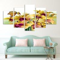 ingrosso orchidea-Fashion 5 pannello vendita calda parete moderna pittura fiori gialli astratta casa immagine di arte della parete pittura su stampe su tela orchidea arte