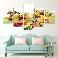 flores amarillas pintura abstracta al por mayor-Moda 5 Panel Venta Caliente Moderno Pintura de Pared flores amarillas abstractas Inicio Arte de Pared Imagen en lienzo Imprime arte orquídea