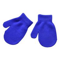 варежки для детей оптовых-Unisex Kids Girl Boy Knitting Warm Soft Gloves Child Candy Colors Cute Mittens Autumn Winter Whole Cover Fingers Gloves