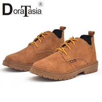 venta de zapatos anchos al por mayor-DORATASIA 2018 New Wide Low Heels Solid Lace Up Hot Sale Shoes Mujer Casual otoño invierno botines de mujer tamaño 36-40