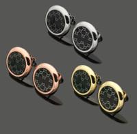 ingrosso gioielli per il commercio-Acciaio inossidabile 316L Commercio estero all'ingrosso di gioielli G lettera plaid nero rotondo orecchini di colore orecchini in oro rosa 18 carati