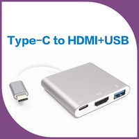Wholesale thunderbolt vga cable - USB 3.1 Type C Thunderbolt 3 TO HDMI VGA USB HUB USB-C multi-port Adapter Dongle Dock Cable for New Macbook Pro