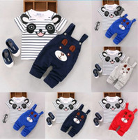 Wholesale panda clothes summer online - Cartoon toddler baby infant boys outfits T shirt bib pants kids clothes set summer baby cotton striped panda printing clothes outfits