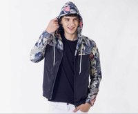 Wholesale flower outerwear jacket resale online - Floral Print Hooded Zipper Jackets Coats Mens Fashion Casual Autumn Windbreaker Jackets Male Panelled Slim Jackets Coats Outerwear M XL