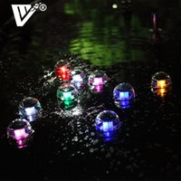 ingrosso luci di piscina galleggianti esterne-Sfera di galleggiamento di Natale LED Impermeabile Solar Water Drift Lamp Cambiare colore LED Light Ball 2V 60MA per piscina all'aperto Night Lights