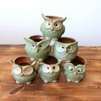 modelos de búho al por mayor-Owl Shape Ceramics Succulent Pots Animal Modeling Flowerpot Technology Decor para la planta durable carnosa Home Garden 6 8fm jj