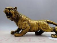 statuen tiger großhandel-China-Messingkupferauto schöne glückliche feine Feng Shui Tiger Sculpture Statue