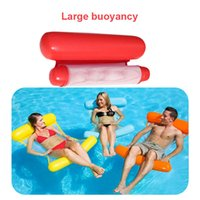 Wholesale funny swimming - Swimming Inflatable Floating Float Water Hammock Pool Lounge Bed Chair Summer Water Funny Folding Double Back And Back DDA673