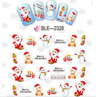 Wholesale Nail Art Cartoon Stickers - New nail art 3D Christmas cartoon stickers decals water transfer nail stickers factory outlets Nail jewelry