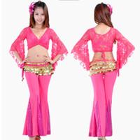 uygulama kıyafeti toptan satış-10 Renkler Profesyonel Oryantal Dans kostümleri Performans 2 ADET Flared Kollu Dantel Üst Pullu Alevlendi Pantolon Belly Dance Practice Suit