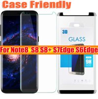 Wholesale Galaxy Note 3d Cases - For samsung galaxy note8 note 8 S8 plus S7edge S6Edge case friendly 3d curved tempered glass Case Version phone screen protector