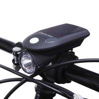luzes de bicicleta recarregáveis usb venda por atacado-Recarregável USB Energia Solar Bicicleta Frente Cabeça Lanterna Mountain Bike Movido A Energia Solar Luz Da Bicicleta Luz Frontal para Ciclismo