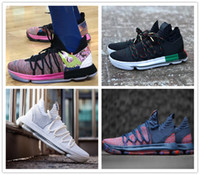 Wholesale grey kevin durant high cut shoes online - 2018 KD X Oreo Still Zoom KD10 Anniversary Men Basketball Shoes White Red Black High Quality Kevin Durant s Athletic Shoes Size