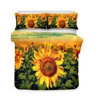 Wholesale queen size 3d bedding set online - 3D Art Luxury Piece Sunflower Bedding Set d Sunflower Print All Size Queen King
