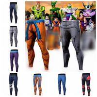 Wholesale pants dragon prints - Student Mens Dragon Ball Pants Compression Trousers Fitness Pant Tight 3D Dragon Ball Z Men Vegeta Goku Pant KKA4795